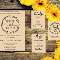 RUSTIC WEDDING INVITATION Template printable set, comes with choice of wreaths, instant download, easy edit, diy wedding, invitation suite
