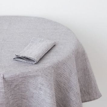 Fog Linen Work Table Cloth Grey White Stripe
