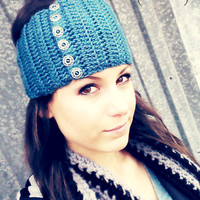 Crochet BUTTON UP headband ear warmer by LuLu Belle Designs