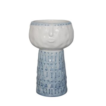 Sly Face Ceramic Flower Pot In Blue And White By Sagebrook Home