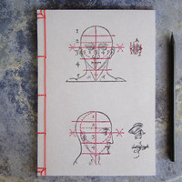 Proportions and Measures of the Head. Embroidered A5 Notebook. Anatomical Journal. Anatomy Men's Book. Gray Notebook. Sciences Art Journal