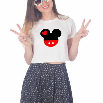 Mickey and Minnie Disney Matching A For Womens Crop Shirt **