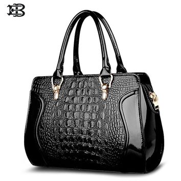 EB women crocodile pattern handbag leather large shoulder bag black female hobos bag alligator handbag messenger bags