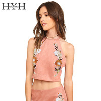 HYH HAOYIHUI 2017 Summer Off Shoulder Flower Embroidery Tops Brief Sleeveless Crop Women Top Tees Elegant Slim Tank Tops