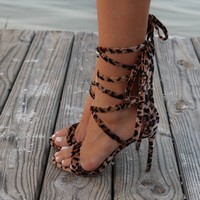 Soulmate Lace Up Strappy Leopard Heel