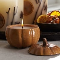 Ceramic Shaped Candle Pot - Pumpkin Spice