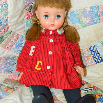 Vintage 1950's Horsman Doll Blonde Cheerleader, Pigtails, Mohair wig, Green Eyes Red Dress retro 50's Toys Blondie School Girl Made in USA