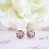Vintage Buttons Earrings Studs Or Clip On -Floral Earrings | Luulla
