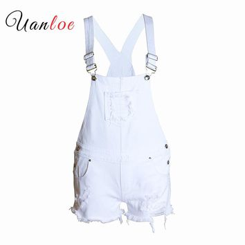 2018 Women`s Ripped Denim Shorts Overall Jeans For Woman (White)