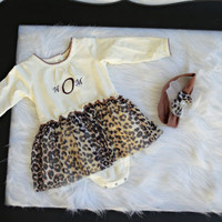 Leopard Print Dress personalized baby girl