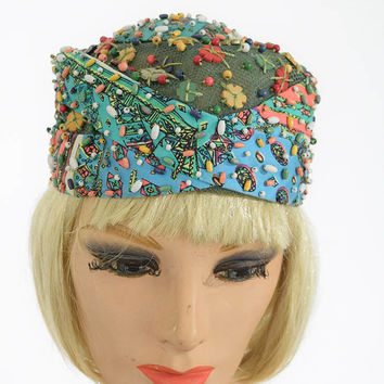 60's Beaded Mod Print Turban Hat