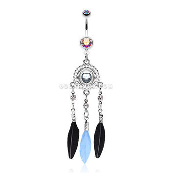 Heart Shield Dream Catcher Belly Ring (Aurora Borealis)