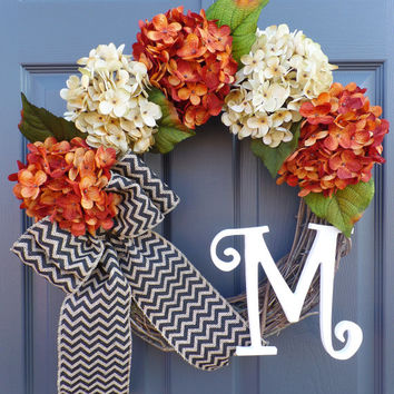 fall wreath - hydrangea wreath - monogram wreath - grapevine wreath - chevron burlap wreath - rustic wreath