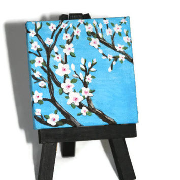 Miniature Painting - 3x3 - Cherry Blossoms - With Easel - Signed - Acrylic - Abstract - Folk Art - Mothers Day Gift