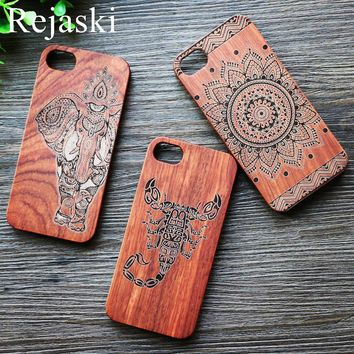 Natural Wood Phone Case Elephant Owl Scorpion For Apple iPhone 6 6s 7 Plus Wooden Cover Mobile iPhoneX Cases Elephants Pattern