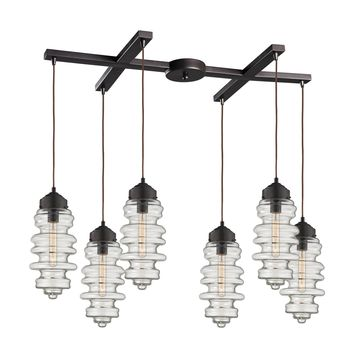 17205/6 Cipher 6 Light Pendant In Oil Rubbed Bronze And Clear Glass - Free Shipping!