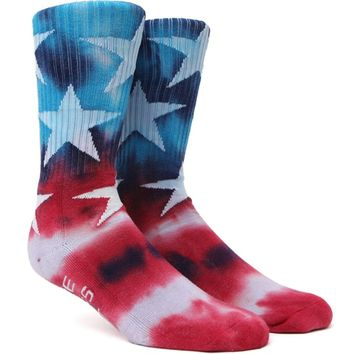 """New"" Socks Tie Dye Stars & Stripes Crew Socks - Mens Socks - Red/White/Blue - One"