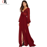 Wine Red Vintage Sheer Deep V Neck Maxi Dress Long Lantern Sleeve Sexy Tied Waist Dresses 2016 Spring Women