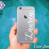 Name Monogram White Cursive Custom Script iPhone 5 iPhone 5C iPhone 6 iPhone 6 + iPhone 6s iPhone 6s Plus and iPhone SE iPhone 7 Clear Case