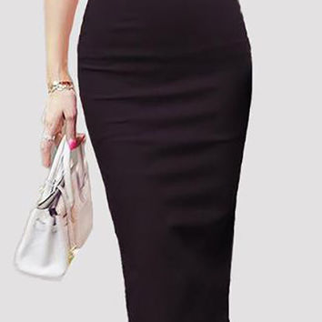 Slim Fitted Knee Length High Waist Straight Pencil Skirt
