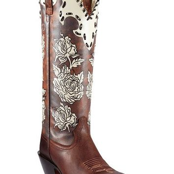 Ariat Callie Rhinestone Embellished Floral Print Cowgirl Boots - Square Toe - Sheplers