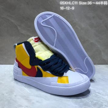 KUYOU N821 Nike Blazer Mid Nike Blazer Low Prm Vntg Skate Shoes Yellow Red  White