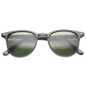 Indie Dapper Round Horned Rim Sunglasses 9999