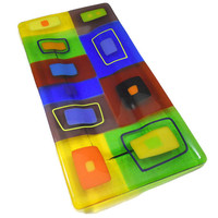 Large Fused Glass Platter with Bright Blocks of Yellow, Orange, Blue and Green, 12 x 6 Inches
