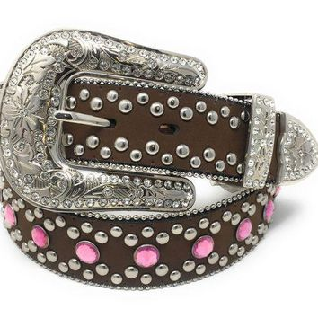 LMFYW3 Blazin Roxx Brown Leather & Pink Rhinestone Belt