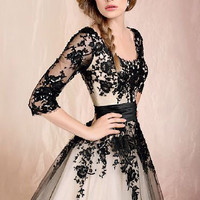 2014 Sexy New Black Lace Mid Calf Quinceanera Dress Prom Ball Gown All US Size