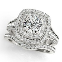 Double Halo Diamond Wedding Set  Moissanite Center - Dina