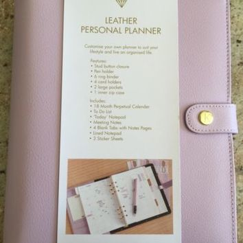 KIKKI K LARGE LILAC LEATHER PERSONAL PLANNER A5