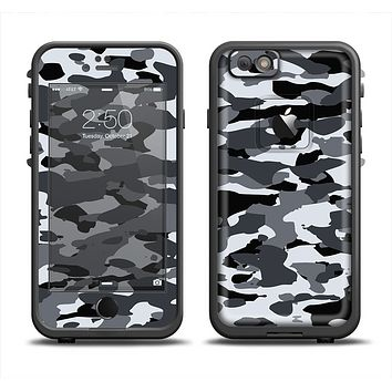 The Traditional Black & White Camo Apple iPhone 6 LifeProof Fre Case Skin Set