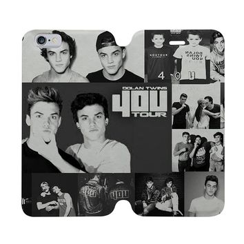 DOLAN TWINS COLLAGE Wallet Case for iPhone 4/4S 5/5S/SE 5C 6/6S Plus Samsung Galaxy S4 S5 S6 Edge Note 3 4 5