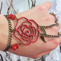 "Red Rose ""Slave Bracelet"" Ring. Hand painted and accented with bronze angel wing charms and Red Coral gemstone beads. Fits 6-8"" wrists"