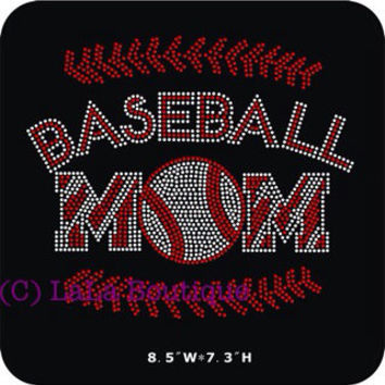 Baseball mom - with Red - Baseball - Rhinestone hot fix Iron on Bling Transfers - DIY hotfix motif appliqué design t-shirts tees shirts