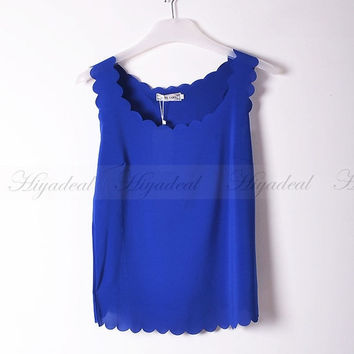 Women Chiffon Sleeveless slim Vest  Tank top Casual Shirt Blouse T-shirt Royal blue = 5987676609
