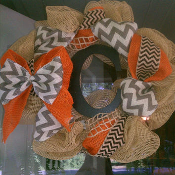 black orange and chevron burlap wreath, chevron wreath, burlap wreath, fall wreath, initial wreath, monogram, gift idea, year round wreath