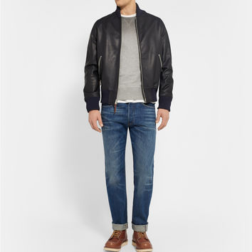 Club Monaco - Full-Grain Leather Bomber Jacket | MR PORTER