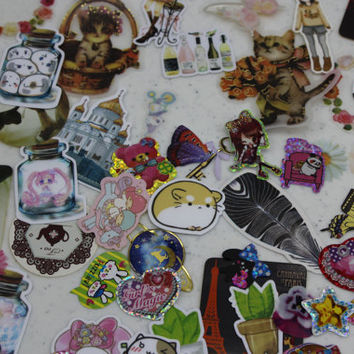 Sticker Flake Mix - Kawaii, Anime, Fantasy, Still-Life, Nature & Fashion