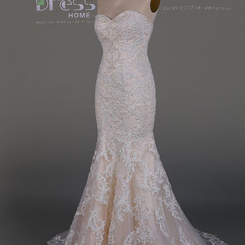 Gorgeous Ivory Sweetheart Lace Prom Dress/Mermaid Beading Wedding Gown/Luxury Train Bridal Dresses/Long Prom Dress/Evening DressDH484