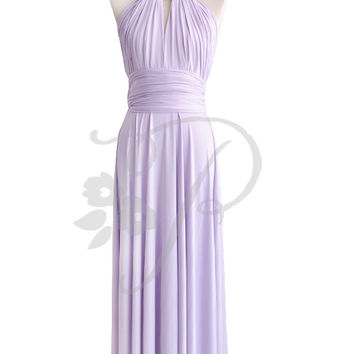 Bridesmaid Dress Infinity Dress Lilac Floor Length Wrap Convertible Dress Wedding Dress