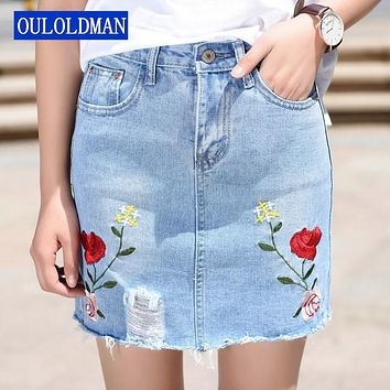 Women Jeans Skirt Embroidery Denim Skirts Mini Casual Vintage Frayed Ripped Hole Above Knee Rose Floral Embroidered Empire Saia