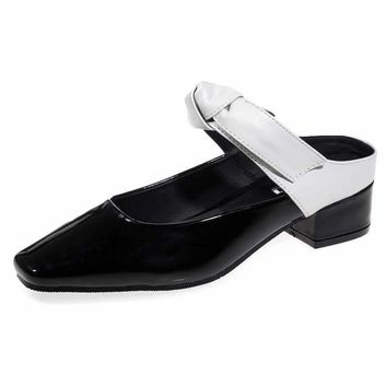 Fashion Women Flat Slippers Casual Lady Shoes Patent Leather Butterfly Bowknot Med Squ