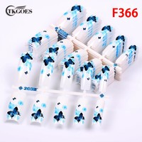 TKGOES 100pcs Acrylic Nail tips Half cover False French nail tips With blue of flying Butterfly Pattern for Finger designed F366