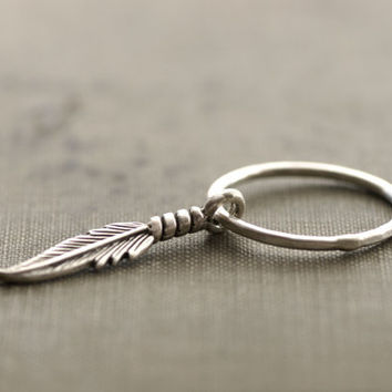 Dangling Feather Ring - Sterling Silver