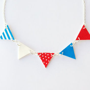 Bunting - Red, White and Blue Hand Drawn Necklace - Made To Order