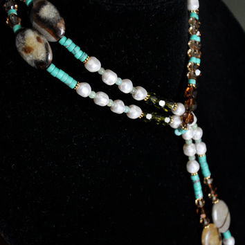 Lariat Necklace, Crystal Jasper Gemstone Jewelry, Southwest Bohemian