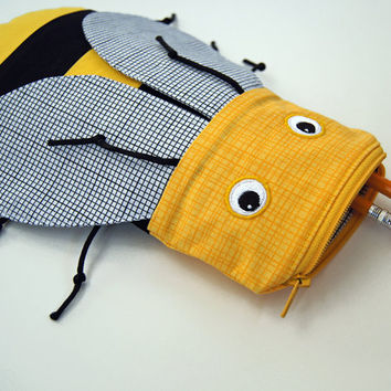 Cute Yellow Bee Pencil Case - Kids Zipper Pouch Animal Bag - Fun Toy Bag or Pencil Bag: MinneBites Yellow Bee Bite Pouch