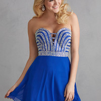 Night Moves 7200 - Royal Strapless Chiffon Homecoming Dresses Online